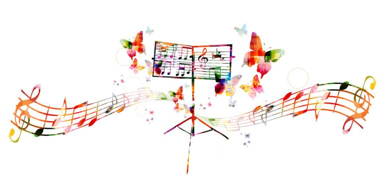 44338175 - colorful music stand with butterflies