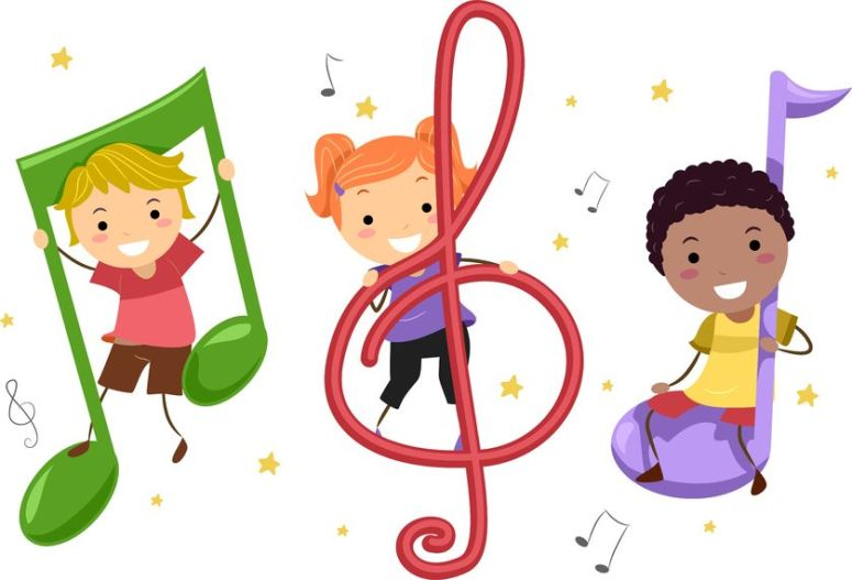 10132522 - illustration of kids playing with musical notes